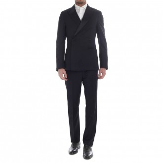 Double-breasted tuxedo wool