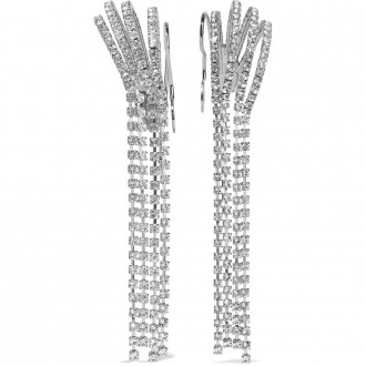 Silver-tone crystal ear cuffs
