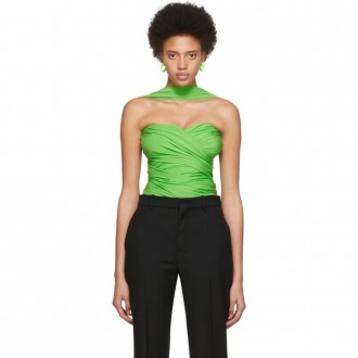 Green Draped Bustier Top