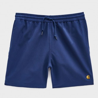 Chase poly swim trunk in metro blue/gold