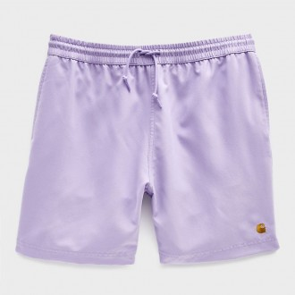 Chase poly swim trunk in soft lavender/gold