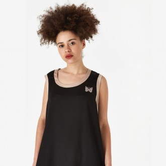 Papillon embroidered tank top