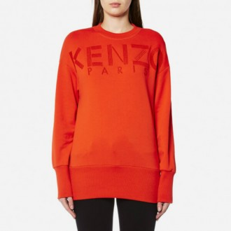 Women's Embroidery Sweatshirt - Medium Orange