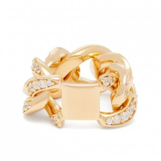 Pavé-crystal chain ring