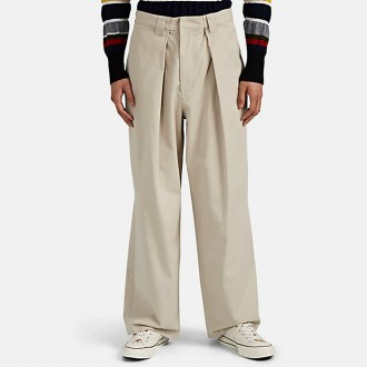 Twill Pleated Wide-Leg Trousers