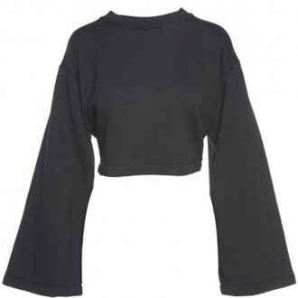 Tie-back cropped cotton-blend jersey
