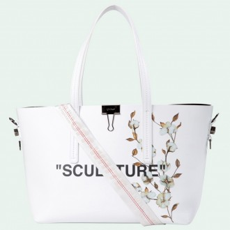 White Cotton Flower Sculpture Tote