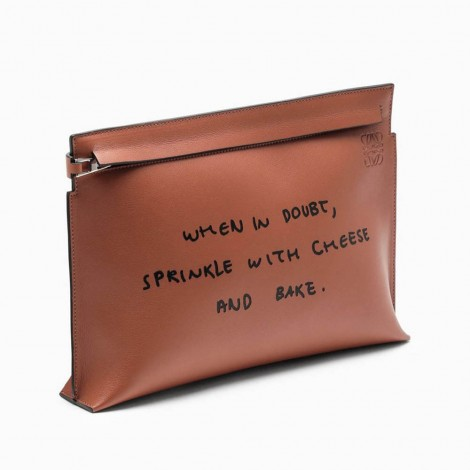 Small Brown Document Holder With Written Print