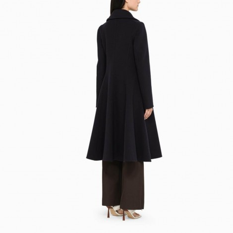 Blue Flared Coat In Wool And Cashmere