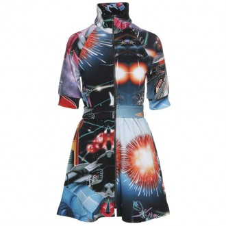 Transformer printed-cotton mini dress