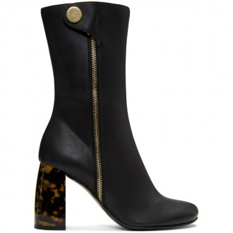 Black Side Zip Heeled Boots