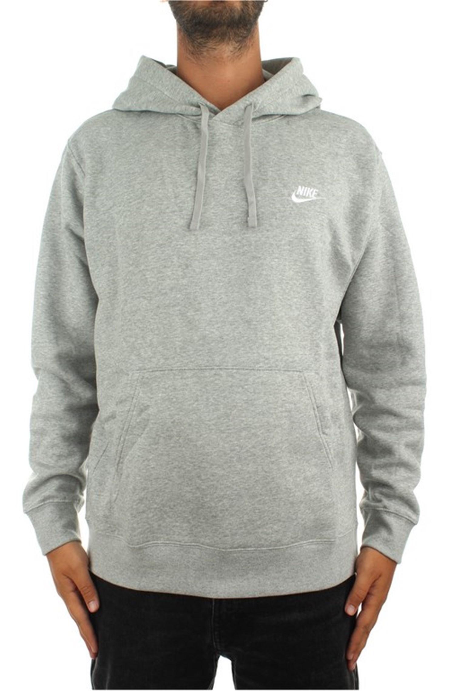 Nike Sweatshirts Hooded Man Dk Gray Heather / matte Silver / white