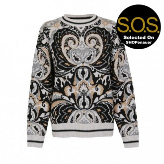 White And Gray Jacquard Sweater