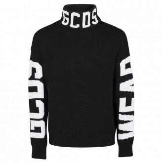 Black Sweater High Collar Embroidery Logo