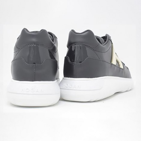 Interactive Sneakers In Black Leather