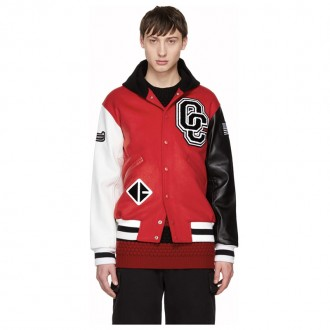 Red Limited Edition Hooded Varsity Bomber Jacket