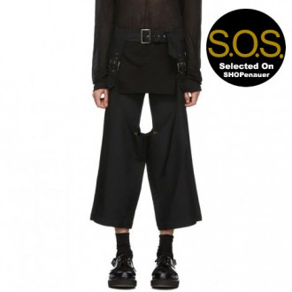 Black Deconstructed Pin-Buckle Trousers
