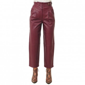 Red Faux Leather Trousers