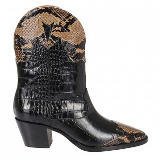 Low Texan Black And Brown Python Boots
