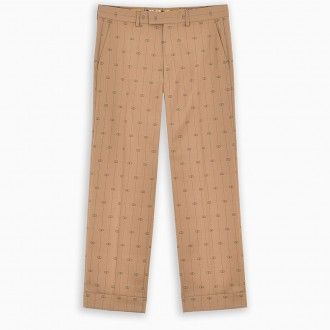 Beige Trousers With Gg Ribbon