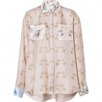 Silk Twill Shirt With Unicorn Print