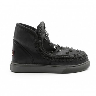 Eskimo Ankle Boot In Black Leather With Rhinestones