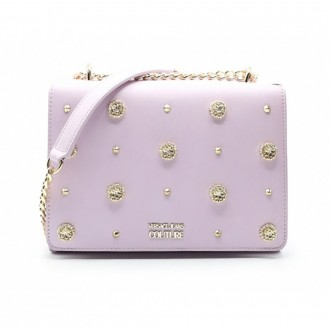 Shoulder Bag In Pink Leather With Studs