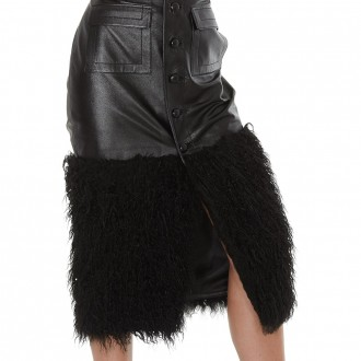 Long Skirt In Leather And Eco Fur