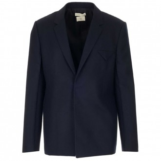 Single-Breasted Jacket In Blue Worsted Wool