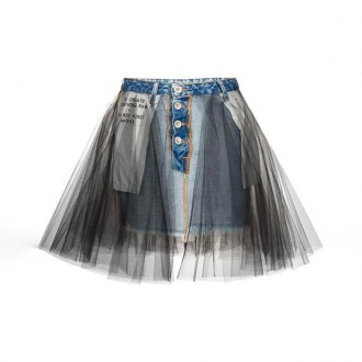 MINI STONE DENIM TULLE SKIRT