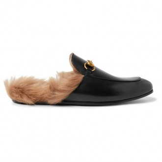 Princetown Horsebit Shearling-Lined Leather Backless Loafers