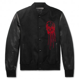 Slim-Fit Embroidered Suede And Leather Bomber Jacket