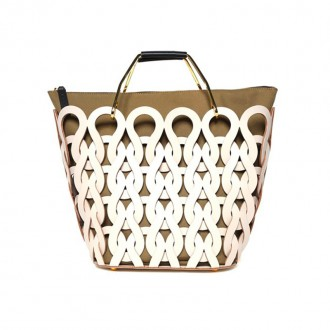 Tricot laser-cut leather and canvas handbag