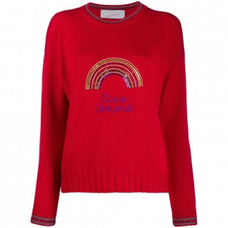 Red Pullover Hello Love With Rainbow