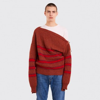 BOATNECK SWEATER WITH BUCKLES TERRA WINE