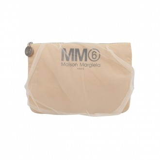 Maxi Hand Clutch In Nude Tulle