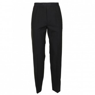 Black Wool Trousers With Side Bands