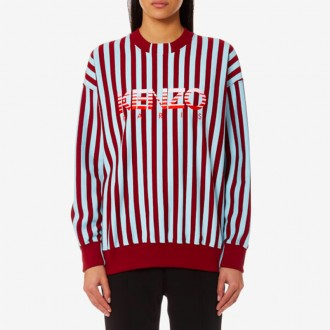 Stripes Light Cotton Molleton Sweatshirt - Bordeaux