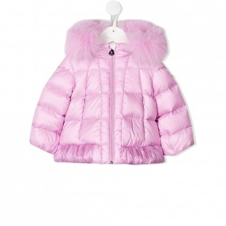 Kids Pink Down Jacket With Hood