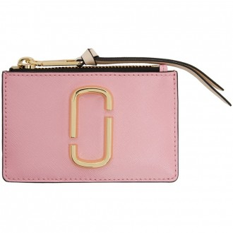 Pink & Red Top Zip Multi Card Holder