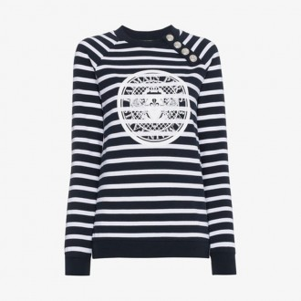 Striped Logo Sweatshirt With Silver Buttons