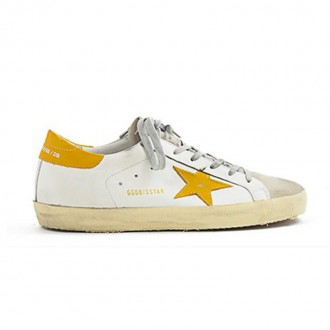 WHITE LEATHER SNEAKER WITH YELLOW DETAILS