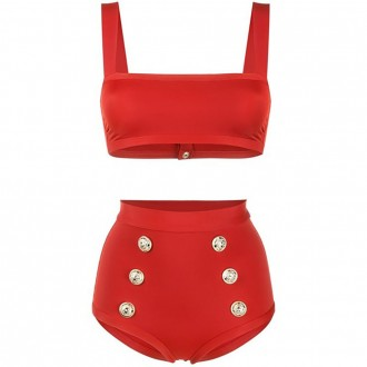 Two Piece Swimsuit With High Waist Briefs