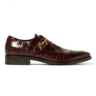 Croc-Effect Leather Shoes
