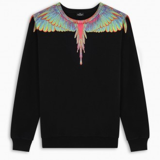 Black Sweatshirt With Fluo Wings Print