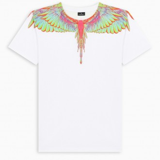 White T-Shirt With Neon Wings Print