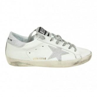 SNEAKERS SUPERSTAR IN WHITE LEATHER WITH STAR GLITTER
