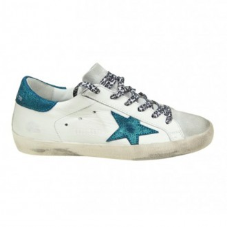 SUPERSTAR SNEAKERS IN WHITE LEATHER WITH STAR IN TURQUOISE GLITTER