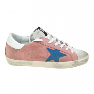 SUPERSTAR SNEAKERS IN PINK SUEDE WITH BLUE STAR