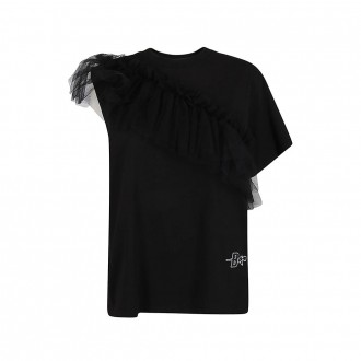 Asymmetrical T-shirt With Black Tulle Insert